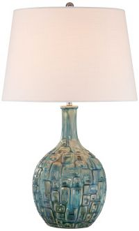 Mid-Century Teal Ceramic Gourd Table Lamp - #T8722 ...