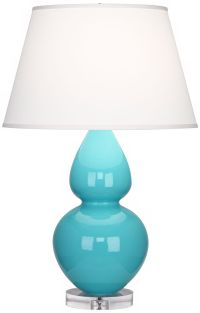 Robert Abbey Double Gourd Egg Blue Ceramic Table Lamp