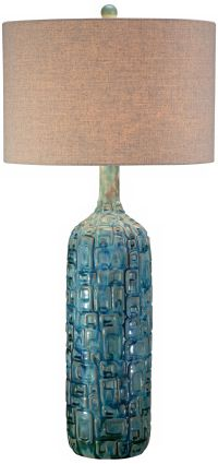 Ceramic Teal Mid-Century Table Lamp - #Y4421 | www ...