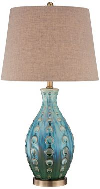 Mid-Century Ceramic Vase Teal Table Lamp - #Y4423 | www ...