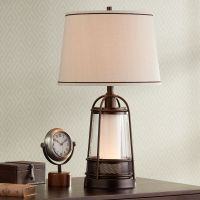 "Hugh 26"" High Bronze Lantern Table Lamp with Night Light ..."