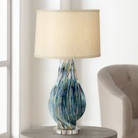 Teresa Teal Drip Ceramic Table Lamp - #1F455 | Lamps Plus