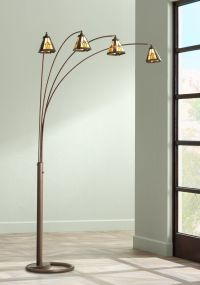 Four Arm Bronze Finish Mission Glass Arc Floor Lamp ...