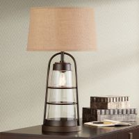 Industrial Lantern Table Lamp with Night Light - #2V218 ...
