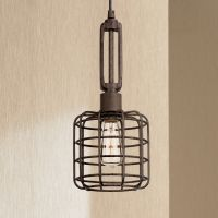 "Industrial Cage 7"" Wide Rust Metal Mini Pendant Light ..."