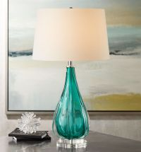 Claudette Turquoise Glass Table Lamp - #4G322 | www ...
