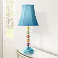 Bohemian Teal Blue Stacked Glass Table Lamp - #4N710 ...