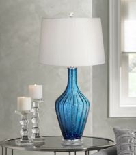 Possini Euro Elin Blue Fluted Art Glass Table Lamp