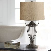 Tan Woven Shade Bronze Urn Table Lamp - #6R112-Y8193 ...