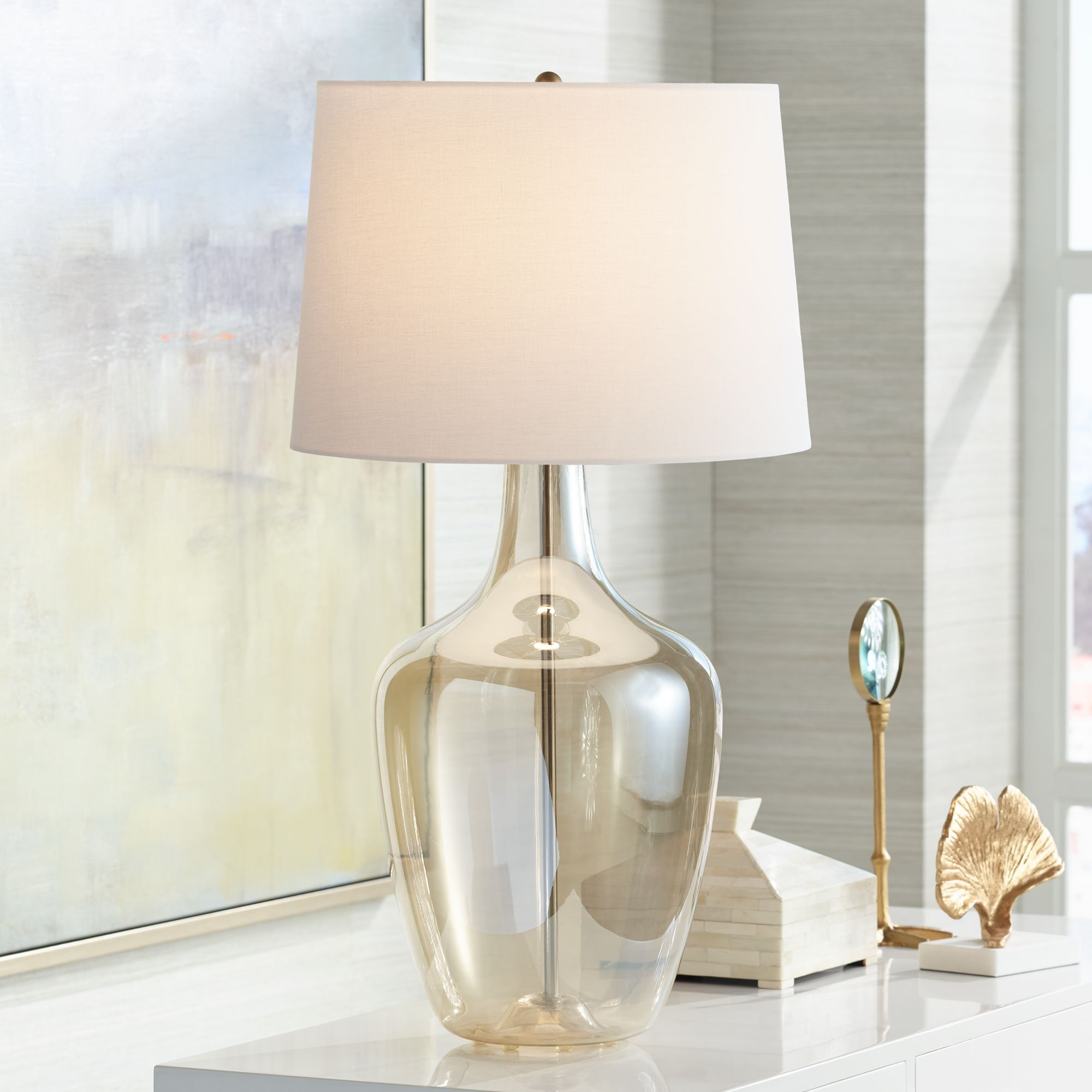 Ania Champagne Glass Jar Table Lamp