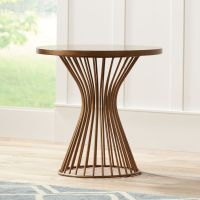 Seville Oak and Bronze Swing Arm Floor Lamp End Table