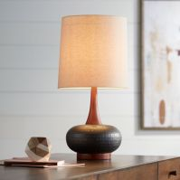 Andi Mid-Century Ceramic and Wood Table Lamp - #9H566 ...