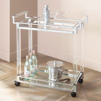 Clear Acrylic and Chrome Rolling Serving Cart