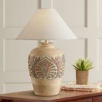 Southwest Tan Leaf Design Table Lamp - #H1301 | Lamps Plus