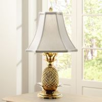 Tropical Brass White Shade Pineapple Table Lamp - #J8860 ...