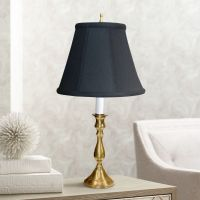 Solid Brass Black Shade Candlestick Table Lamp - #P3283 ...