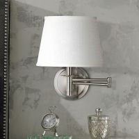 Kenroy Sheppard Brushed Steel Plug-In Swing Arm Wall Lamp ...