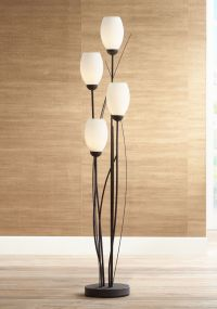 Black Metal and White Glass Tulip 4 Light Floor Lamp - # ...
