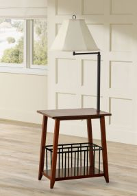 Seville Oak and Bronze Swing Arm Floor Lamp End Table - # ...