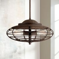 "Metal Cage 18"" Wide Dark Rust Industrial Pendant Light - # ..."