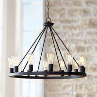 "Lacey 28"" Wide Round Black Chandelier - #W7307 