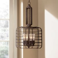 "Industrial Cage 14 1/2"" Wide Rust Metal Pendant Light - # ..."