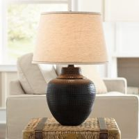 Brighton Hammered Pot Bronze Table Lamp - #X4785 | Lamps Plus