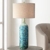 Ceramic Teal Mid-Century Table Lamp by Possini Euro Design ...