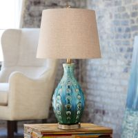 Mid-Century Ceramic Vase Teal Table Lamp - #Y4423 | Lamps Plus