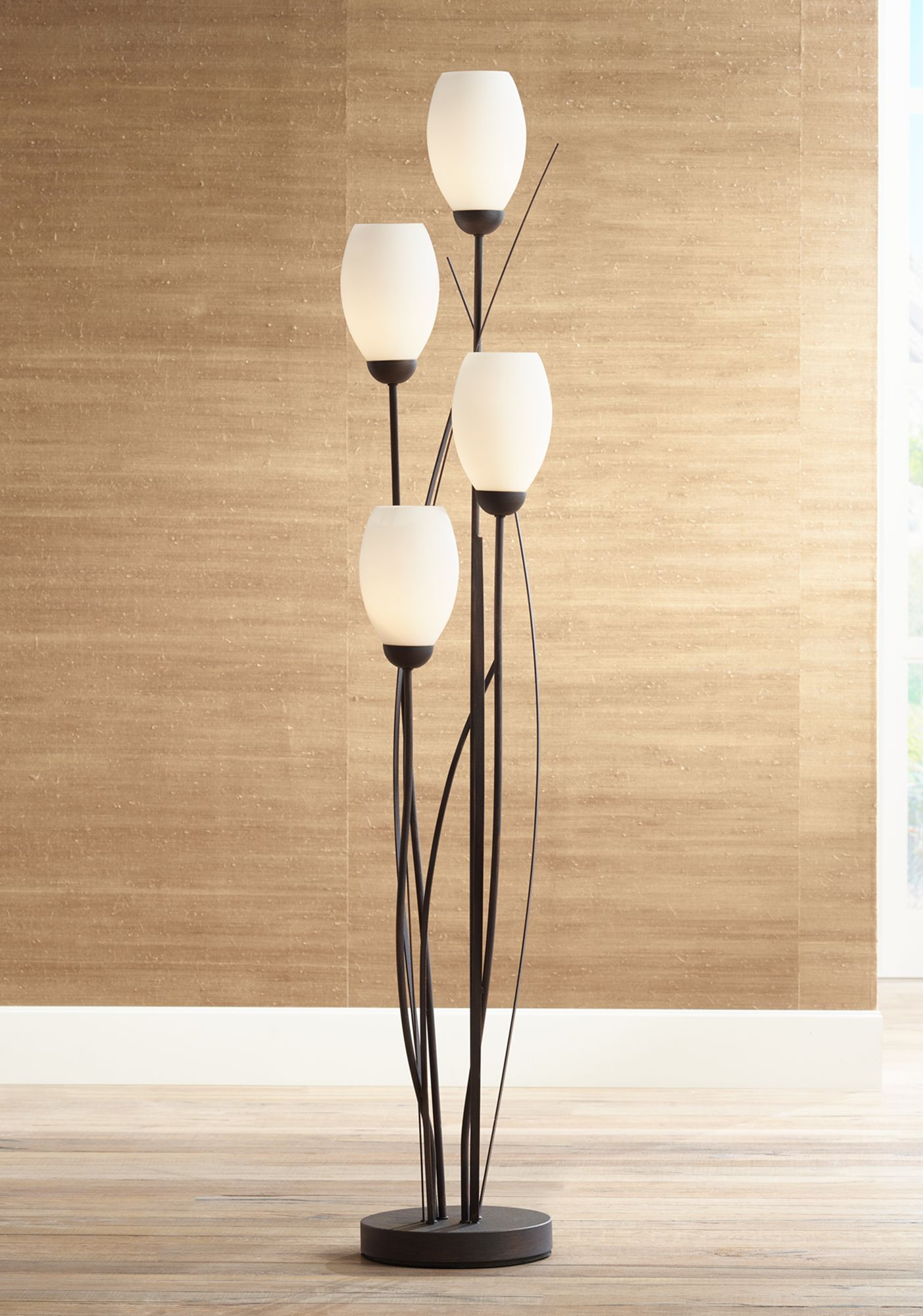 floor lamp living room modern farmhouse rug lamps contemporary to traditional and black metal white glass tulip 4 light