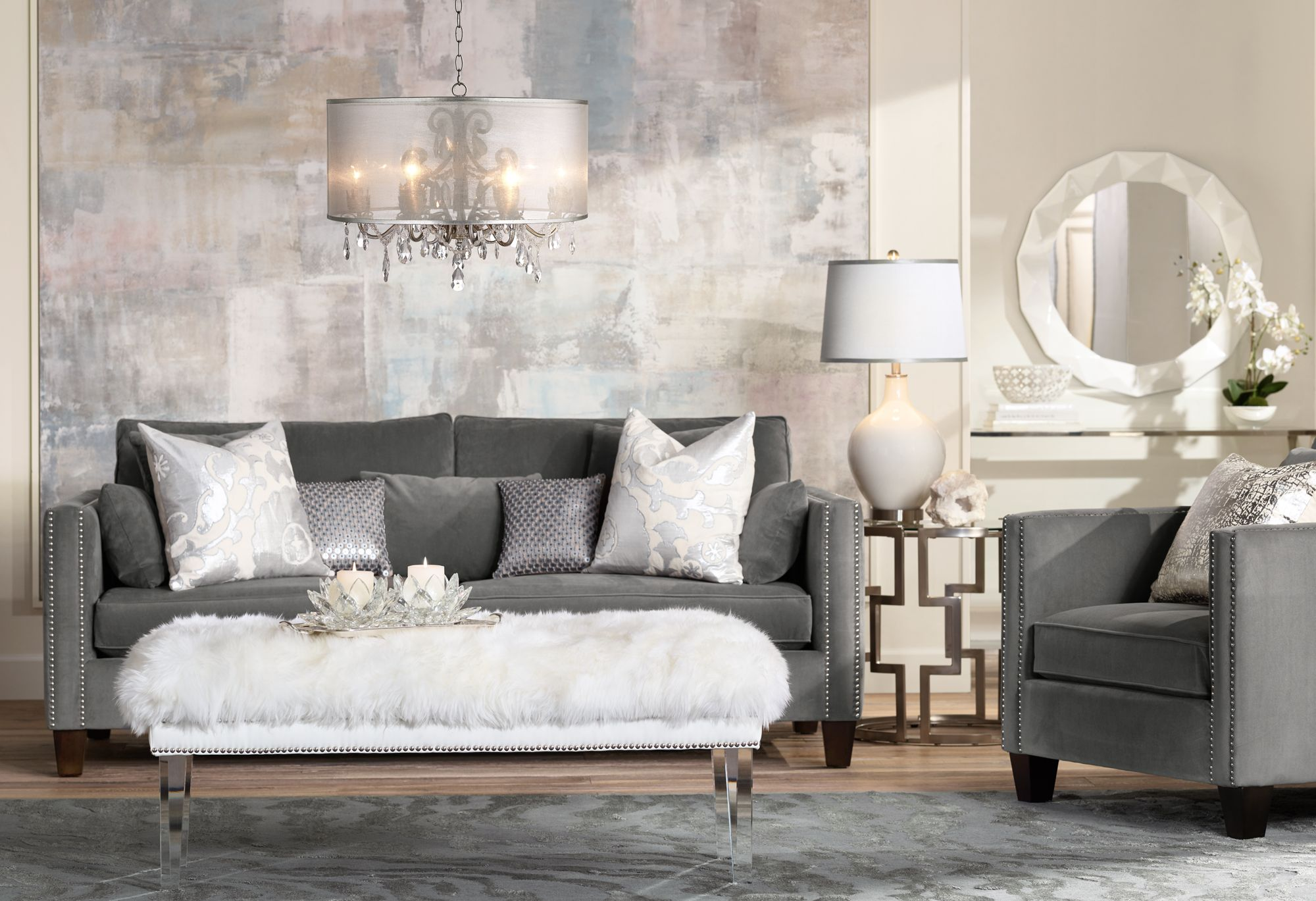 A trendsetting living room with acrylic furniture and
