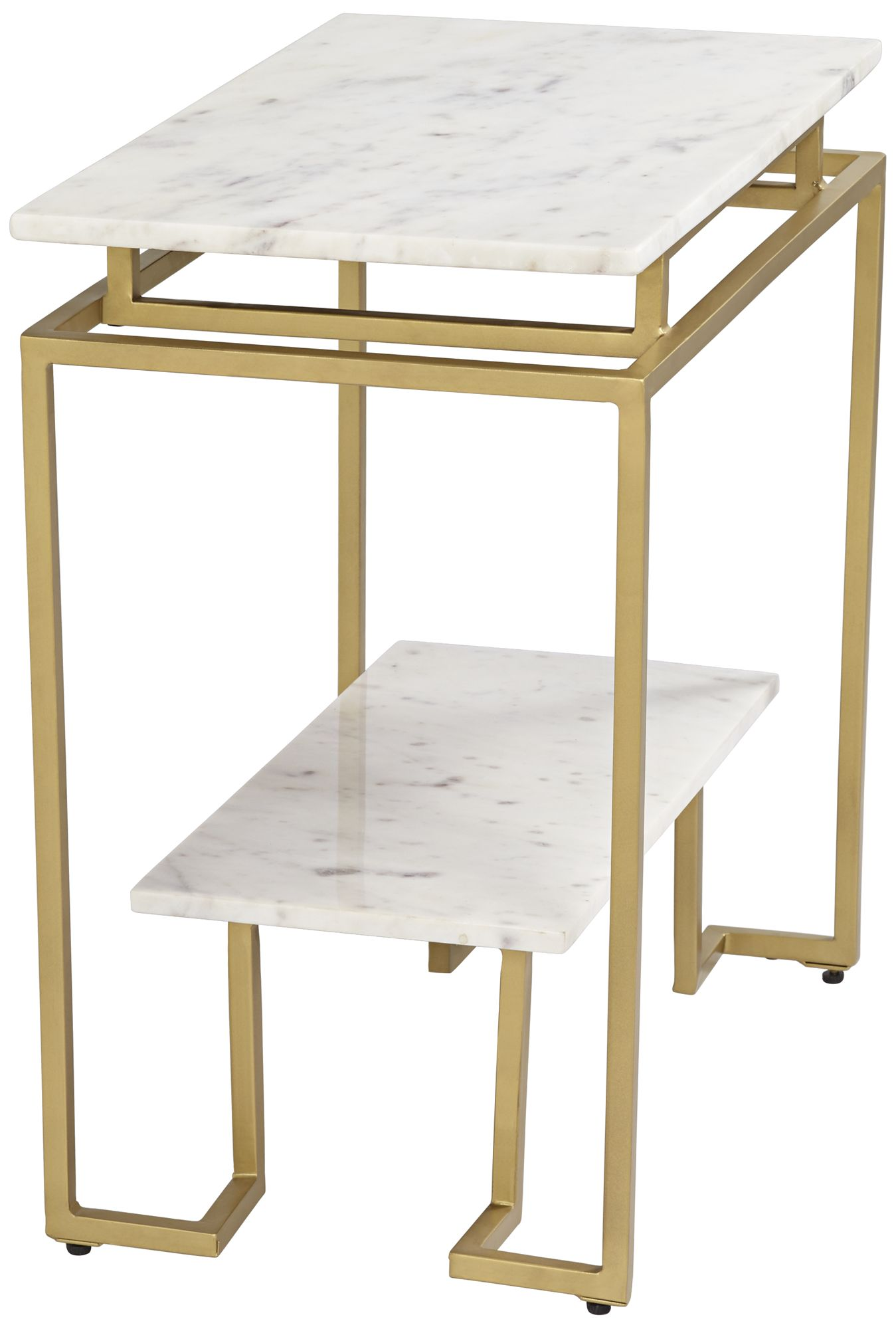 vendar 24 wide marble and gold 2 level modern accent table