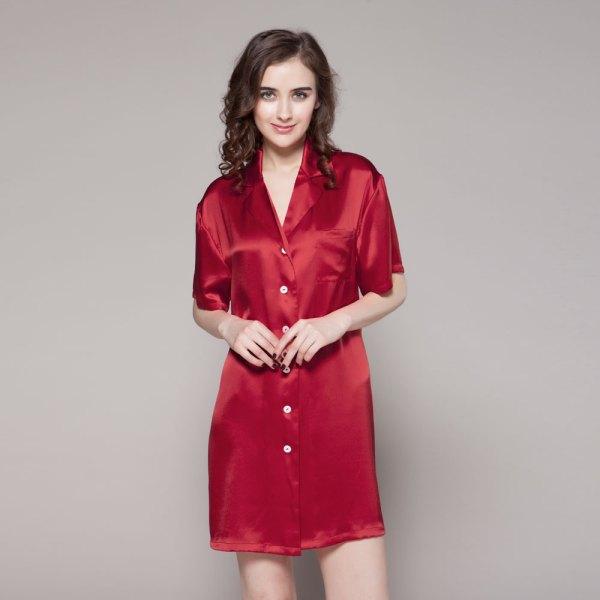 Women Silk Sleepshirt 22 Momme 100 Mulberry