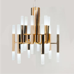 Contemporary Gold Glossy Indoor Led Pendant Lights Lamp Lighting Chandelier In 24 24w