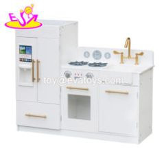Wood Kitchen Playsets Wheeled Island China Wooden Toy Manufacturers New Arrival Big White Play Toys For Children Pretend W10c370e