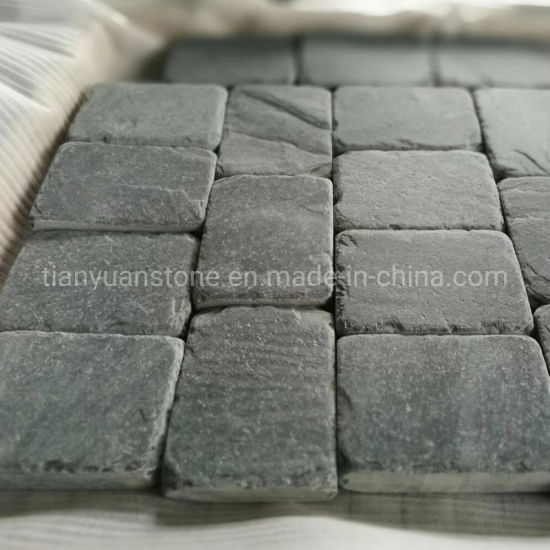 china riven black slate driveway paving