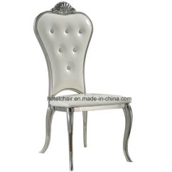 Silver Metal Dining Chairs Hello Kitty High Chair China Stainless Steel Leather Wedding Lh 606y