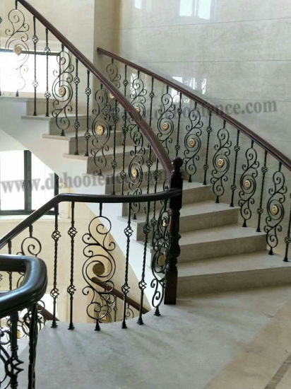 China Architectual Wrought Iron Baluster For Ornamental Iron | Iron Handrails For Stairs Interior | Wall Mounted | Balcony | Dark Brown | Room Divider | Custom