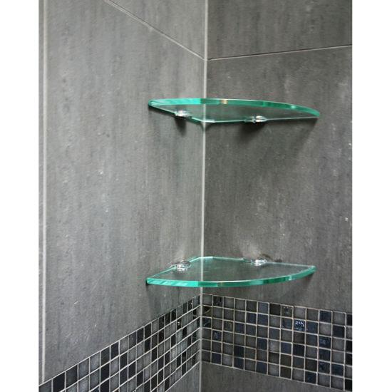 rail tempered glass corner shelf