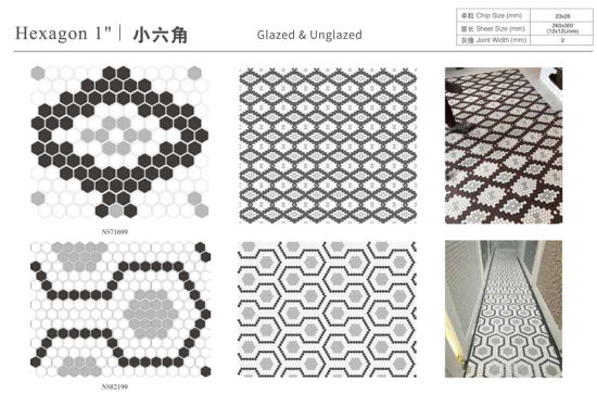 wall backsplash floor decor hexgaon glossy and matte ceramic mosaic tile