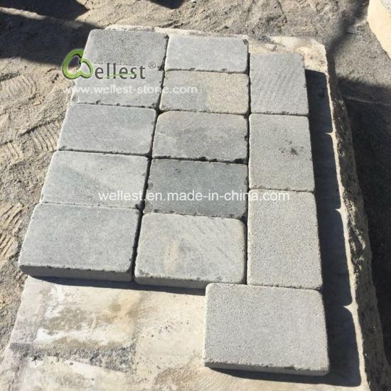 light grey basalt paver driveway