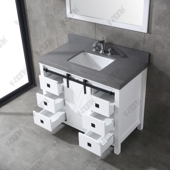 42inch White Cabinet With Grey Quartz Top Free Standing Bathroom Vanity China Large Storage Hangzhou Made In China Com