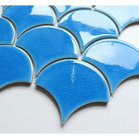 fan scallop sky blue color glazed ice cracked porcelain mosaic tile