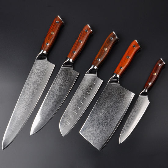 professional kitchen knives maple chairs china knife set 5pcs damascus skd 11 blade with golden sandal wood handle wd91