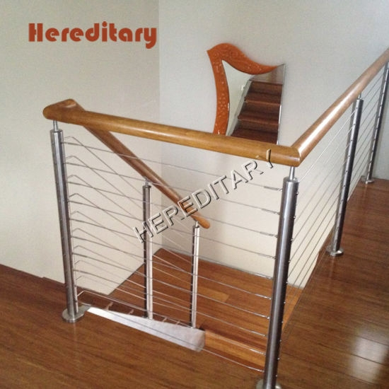 Interior Stainless Steel Balustrade And Wood Stair Railings With   Wood Stair Railings Interior   Residential   Craftsman Style   2Nd Floor   Paint   Rosette