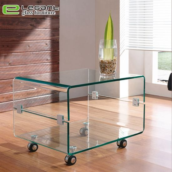 china bent glass side table with wheels