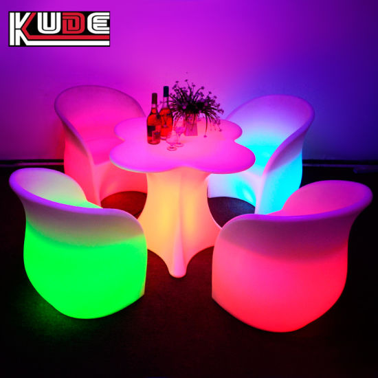 led table and chairs henredon asian dining china glowing furniture set night club lighting illuminated pictures photos
