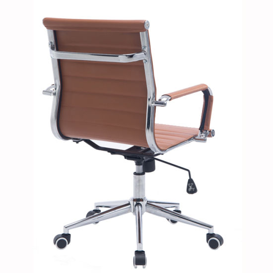 swivel chair em portugues best reclining china modern mid back ribbed upholstered pu leather office computer orange