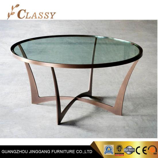 luxury modern round tempered glass