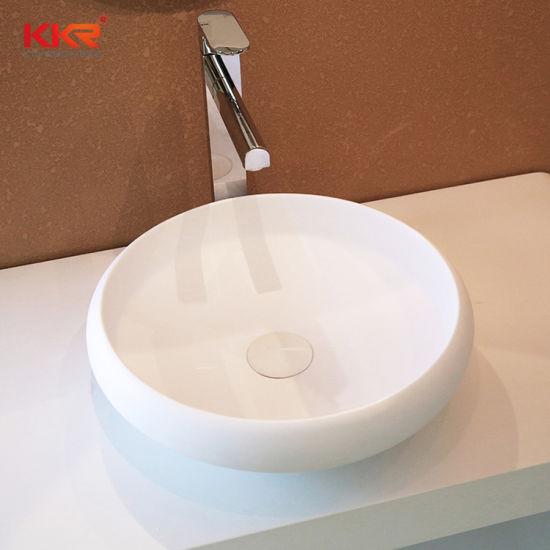 kkr factory custom dining room round shape solid surface stone wash basin sink bowl